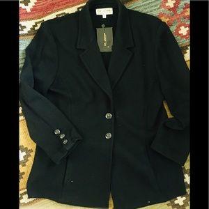 St. John black blazer. Front slit pockets. NWT 16